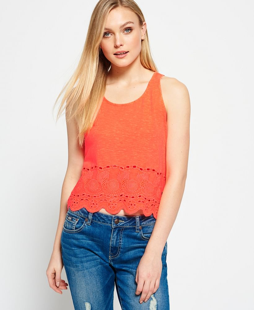 BEACH BROIDERIE SHELL TOP