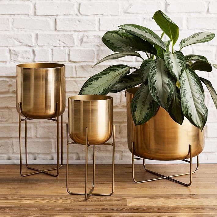 Spun Metal Standing Planter - Brass