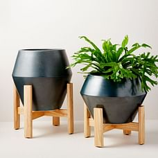 Ilya Turned Wood Planters - Beluga Gray