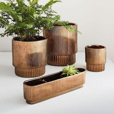 Fluted Indoor/Outdoor Planters - Crystal Gold