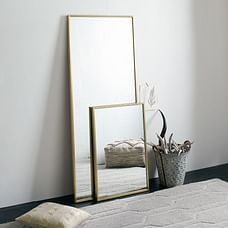 Metal Framed Floor Mirror, Antique Brass
