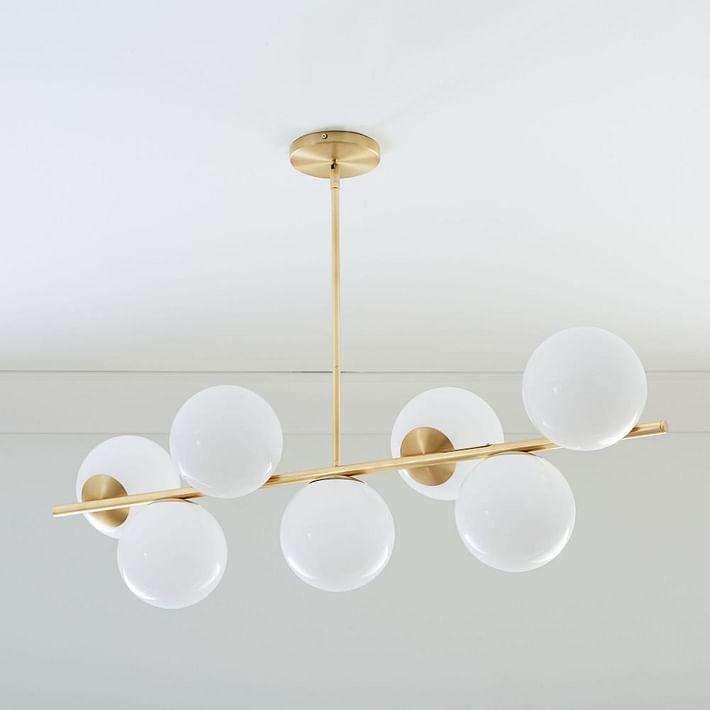 Sphere & Stem 7-Light Chandelier - Milk