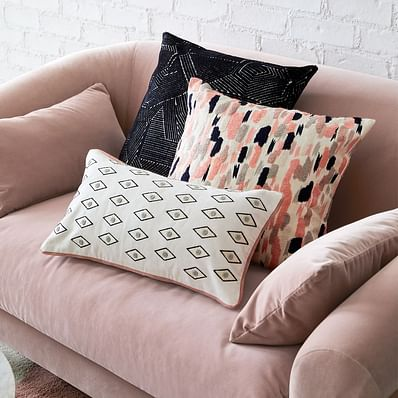 Embroidered Overall Brushstrokes Pillow Cover
