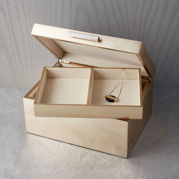Mid-Century Box, Champagne Lacuqer, Large