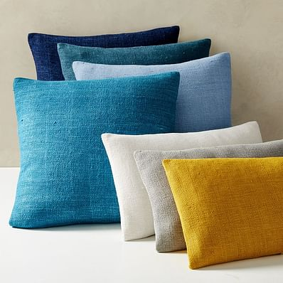 Silk Hand-Loomed Pillow Covers, Blue Teal