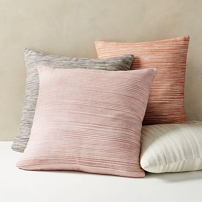 Silk Ombre Striations Pillow Covers, Midnight