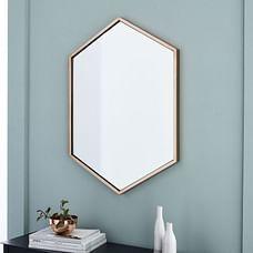 Metal Framed Hexagon Mirror, Antique Brass