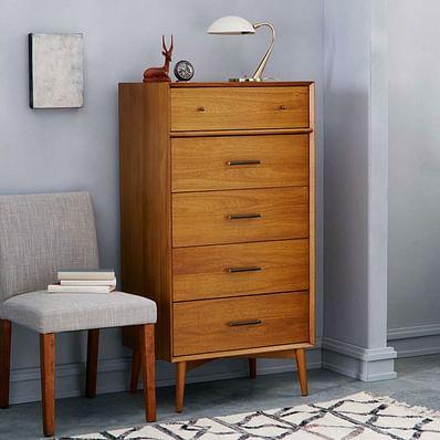 Mid-Century  5-Drawer Dresser, Acorn