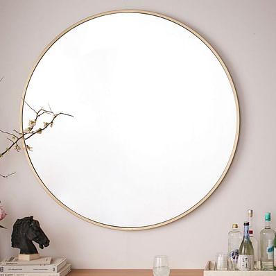 Metal Framed Mirror, Antique Brass, Oversized Circle