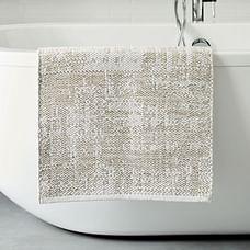 Organic Distressed Texture Bath Mat, White