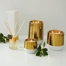 White + Gold Candle - Smoked Tonka