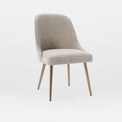 Mid Century Upholstered Dining Chair, Metal