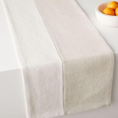Cotton Canvas Runner, Stone White