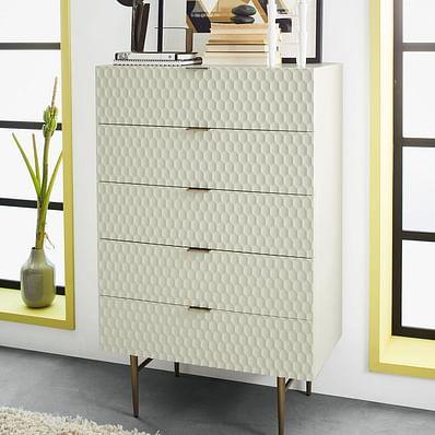 Audrey 5 Drawer Dresser - Parchment