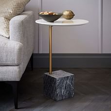 Cube Side Table, White/Antique Bronze/Gray Marble