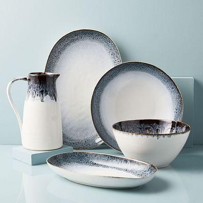 Reactive Glaze Serveware - Black/White
