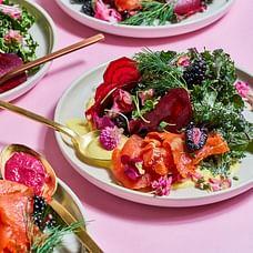 Kaloh Salad Plate, Set of 4 - Stone