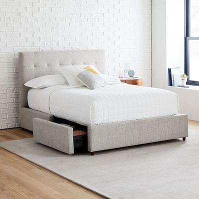 Grid-Tufted Storage Bed