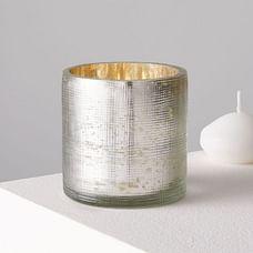 Crosshatch Textured Mercury Glass Votive Holder , Individual