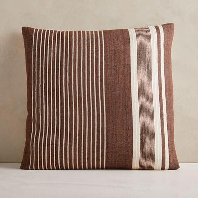"Silk Variegated Stripe Pillow Cover, 24""x24"", Dark Brown"