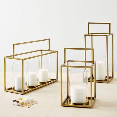Framed Metal Lanterns - Brass
