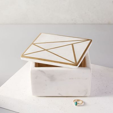 Brass Inlay Marble Box - Square