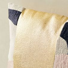 Embroidered Metallic Curves Pillow Cover