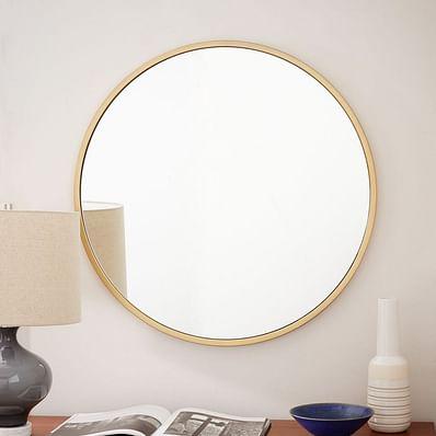 Metal Framed Mirror, Antique Brass, Round