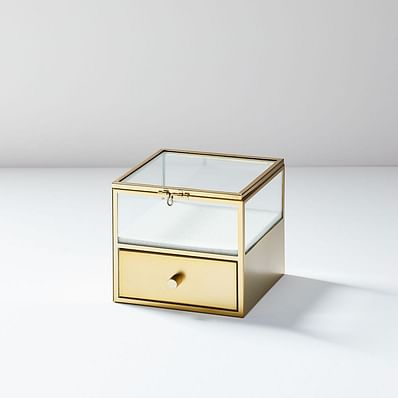 Terrace Shadow Box - Brass (Square w/ Drawer)