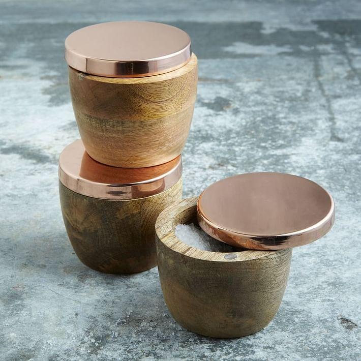Wood + Copper Salt Cellar