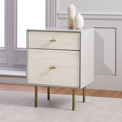 Modernist Wood & Lacquer Nightstand - Winter Wood