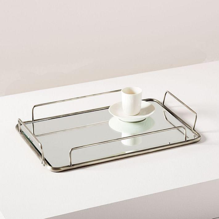 Fishs Eddy Gilded Cafe Mirror Trays - Polished Nickel