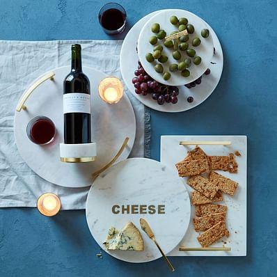 Marble + Brass Round Cheese Board