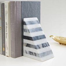 Black & White Striped Marble Bookend