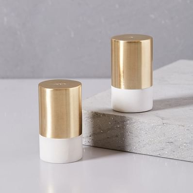 Marble and Brass Salt + Pepper Shakers, Set of 2