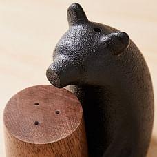 Bear Shaped Salt + Pepper Shaker, Metal + Wood, Set of 2