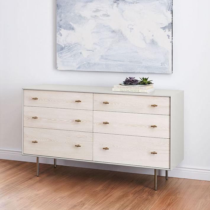 Modernist Wood + Lacquer 6-Drawer Dresser, Winter Wood