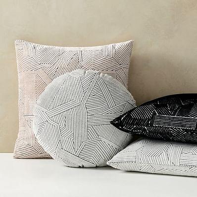 Linear Cut Velvet Pillow Cover, Stone White