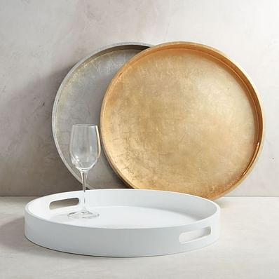 Lacquer Wood Trays - Round, White
