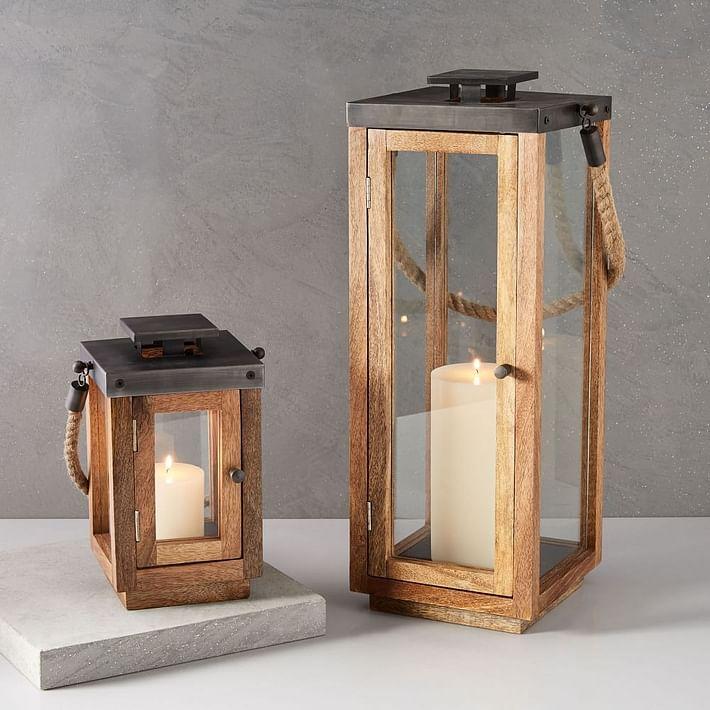Wood + Rope Lanterns - Natural