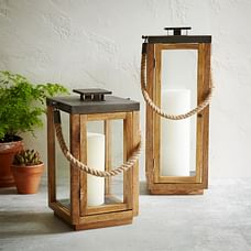 Wood + Rope Lanterns - Natural