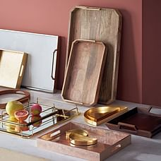 Lacquer Wood Trays - 14x18, Lacquered Wood, White