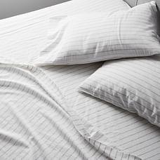 Organic Washed Cotton Percale Simple Stripe Sheet Set