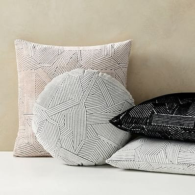 Linear Cut Velvet Pillow Cover, Misty Rose