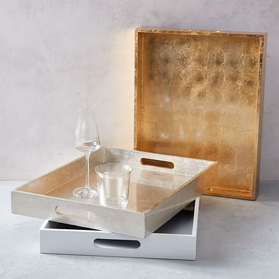 Lacquer Wood Trays - 14x18, Lacquered Wood, Silver