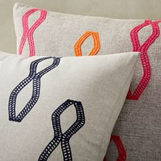 Embroidered Diamond Stripe Pillow Cover