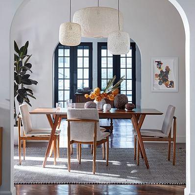 Mid-Century Expandable Dining Table - Walnut