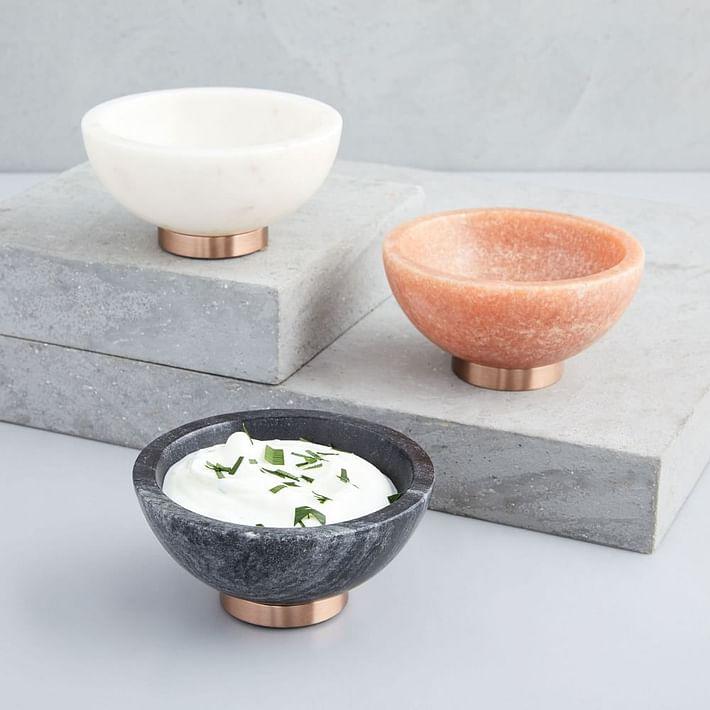 Marble + Copper Dip Bowl, White