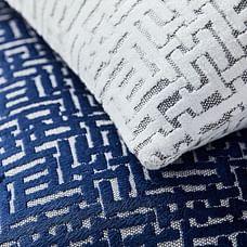 Allover Crosshatch Jacquard Velvet Lumbar Pillow Covers, Nightshade