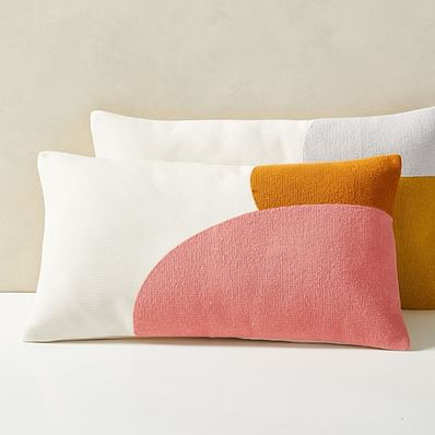 Corded Color Shapes Pillow Cover, Coral Dream
